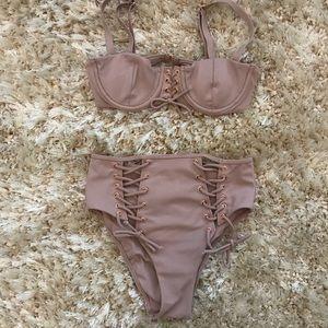 La Hearts Swim - LA Hearts Taupe High Waisted Bikini XS/S